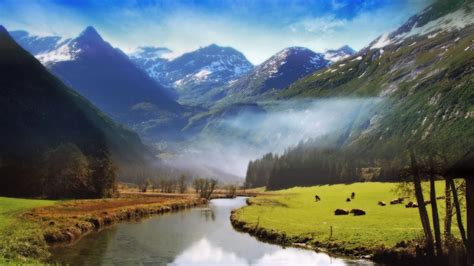 A Big River Flowing Between Mountain Wallpapers   HD